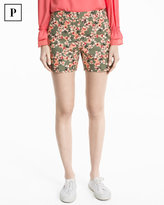 White House Black Market Petite Floral Print Coastal Stretch Shorts