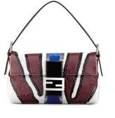 Fendi Zebra-Stripe Sequined Baguette Bag, Wine