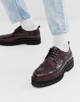 Asos Design DESIGN brogue shoes in burgundy faux leather with chunky sole