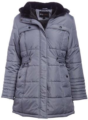 Big Chill Women's Puffer Coats MID - Medium Gray Side-Belt Hooded Berber Collar Puffer Coat - Women & Plus