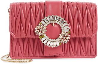 Miu Miu Embellished Matelasse Leather Crossbody Bag