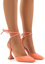 Public Desire Tate Coral Diamante Lace Up Statement High Heels