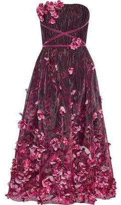 Marchesa Strapless Floral-appliqued Printed Organza Midi Dress