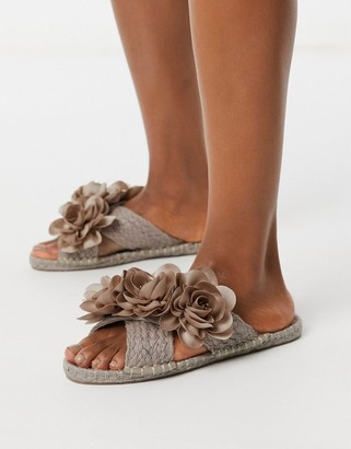 ASOS DESIGN Jingle flower embellished espadrille mules in pink