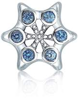 Bling Jewelry Silver Simulated Topaz CZ Snowflake Bead Fits Pandora Charms