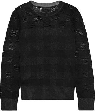 Rag & Bone Charlotte Metallic Checked Pointelle-knit Sweater