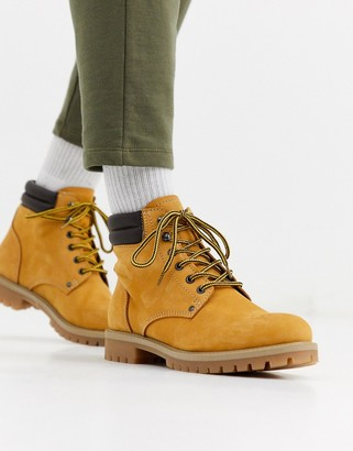 Jack and Jones nubuck leather boots in tan