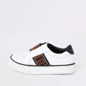 River Island Mini boys white RI tape slip on trainers