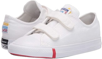 Converse Chuck Taylor(r) All Star(r) 2V Logo Play (Infant/Toddler) (White/University Red/Rush Blue) Kid's Shoes