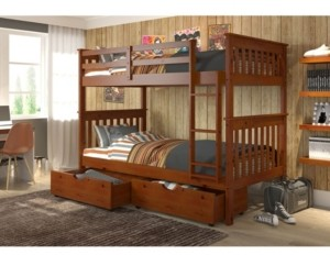 Donco Kids Twin Over Twin Mission Bunk Bed with Dual Underbed Drawers