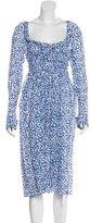 Thierry Colson Leaf Print Midi Dress w/ Tags