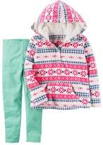 Carter's Infant Girls Baby Outfit Pink Snowflake Hoodie jacket & Mint Leggings 9m