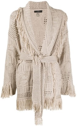 Alanui Virgin Wool Tassel Knit Wrap Cardigan