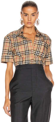 Burberry Short Sleeve Boxy Fit Top in Archive Beige Check | FWRD