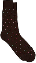Barneys New York MEN'S SHADOW BOX-PATTERN TROUSER SOCKS-BROWN