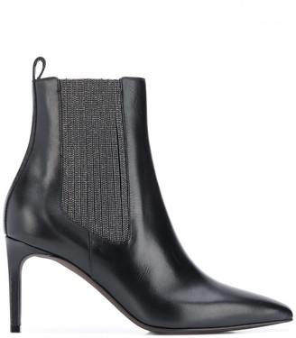 Brunello Cucinelli Beaded-Panel Stiletto Ankle Boots