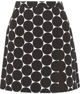 Michael Kors Polka-dot Cotton And Silk-blend Matelassé Mini Skirt - Black