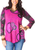Aller Simplement Rose & Gray Abstract Henna Curved-Hem Tunic - Plus Too