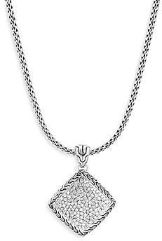 John Hardy Sterling Silver Classic Diamond Chain Pendant Necklace, 18-20