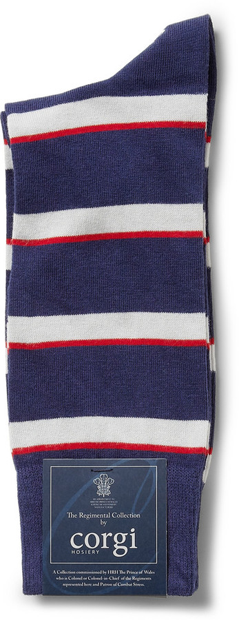 Corgi Army Air Corps Striped Cotton-Blend Socks