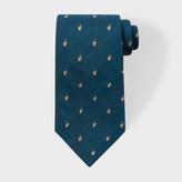 Paul Smith Men's Petrol Embroidered Rabbit Motif Silk Tie