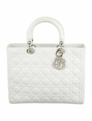 Christian Dior Lady Cannage Large Bag Silver