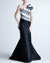 Carolina Herrera One-Shoulder Gown with Striped Bodice