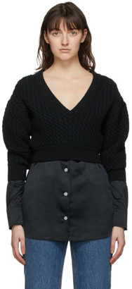 alexanderwang.t Black Cable Knit Bi-Layer Sweater