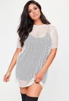 Missguided Curve White Fishnet Mesh T-Shirt Dress