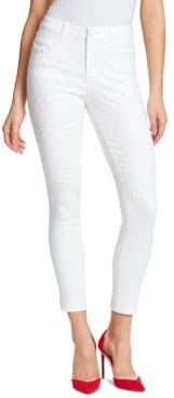 Skinnygirl Fritzo Studded-Front Mid-Rise Skinny Jeans