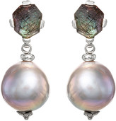 Stephen Dweck Black Rutilated Quartz Baroque Pearl Drop Earrings