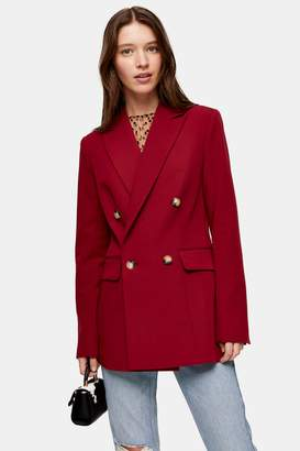 Topshop Womens Tall Berry Suit Blazer - Berry Red