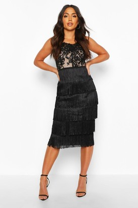 boohoo Sequin Lace Tassel Detail Midi Dress