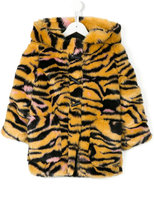 Kenzo faux fur tiger stripe hooded coat - kids - Cotton/Acrylic/Polyester - 5 yrs
