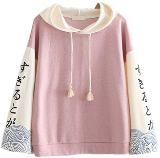 Packitcute Cute Sweatshirts for Women Japanese Style Long Sleeve Hooded Pullover Juniors Tops Light Blue