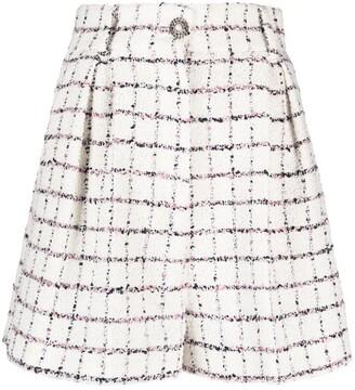 Alessandra Rich Check-Print Tweed Shorts