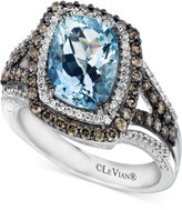 LeVian Le Vian Chocolatier® Sea Blue Aquamarine® (2 ct. t.w.) & Diamond (3/4 ct. t.w.) Ring in 14k White Gold