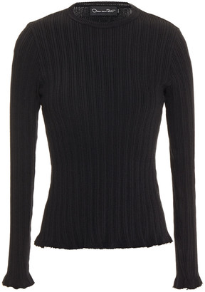 Oscar de la Renta Ruffle-trimmed Ribbed Silk-blend Sweater