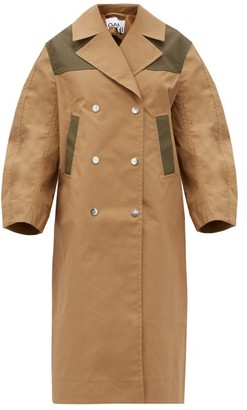 Ganni Double-breasted Cotton-blend Twill Coat - Beige
