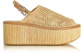 Robert Clergerie Fiesta Natural Woven Raffia Platform Sandals