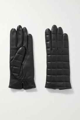 Agnelle Aceline Quilted Leather Gloves - Black