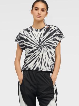 DKNY Women's Tie-dye Short Sleeve Boxy Tee - Black - Size XL