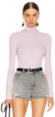 Enza Costa Rib Long Sleeve Turtleneck Bodysuit in Pink Crystals | FWRD