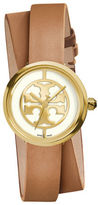 Tory Burch Reva Logo Dial Double Leather Strap Watch