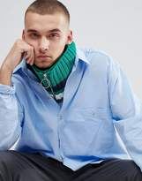 Asos Knitted Infinity scarf In Green With Stripe And Ring Zip Pull