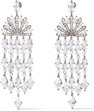 Noir Cosmic Rain Rhodium-plated Crystal Earrings