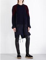 Sacai Wool and cotton-twill parka dress