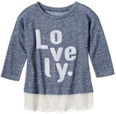 Miss Chievous Girls 7-16 3/4-Length Drop-Shoulder Lace Hem Verb Top