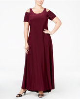 Betsy & Adam Plus Size Cold-Shoulder Gown