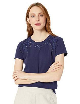 Lucky Brand Women's Embroidered Solid TEE